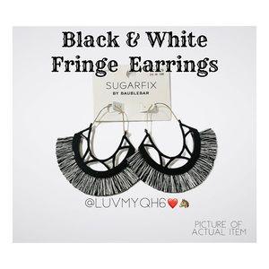 Black & White Fringe Gold Hoop Dangle Earrings